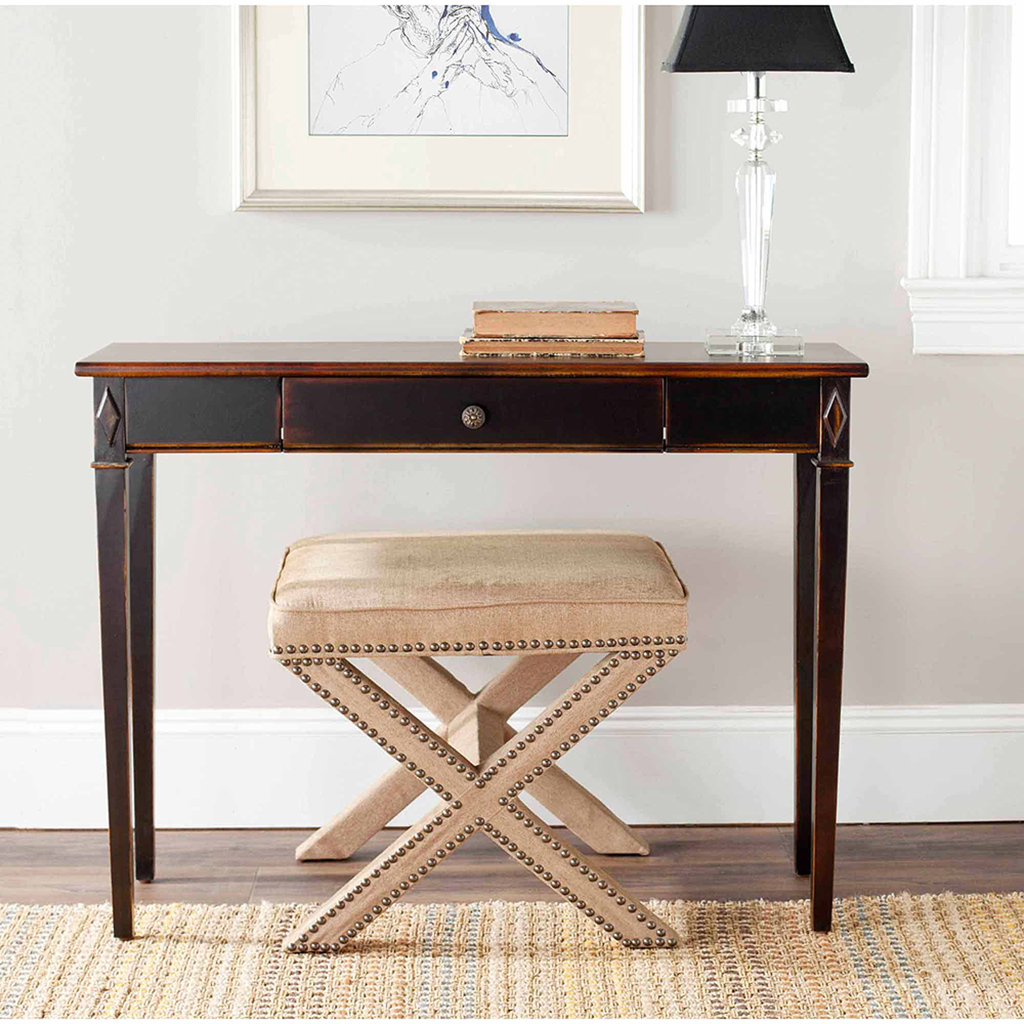 Safavieh Lindy Birch Wood Console Table with Drawer, Lightly Distressed Dark Brown
