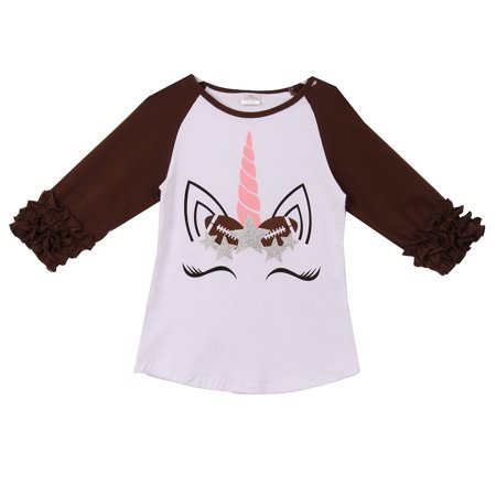 Little Girl Kids Unicorn Football Stars Raglan Ruffle Shirt Top Tee T-Shirt White Brown 2T XS (201586)