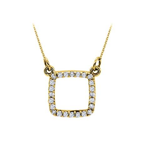 Beautiful Cubic Zirconia Square Pendant in 18K Yellow Gold Vermeil Attractive Looks Decent Price - image 1 of 2