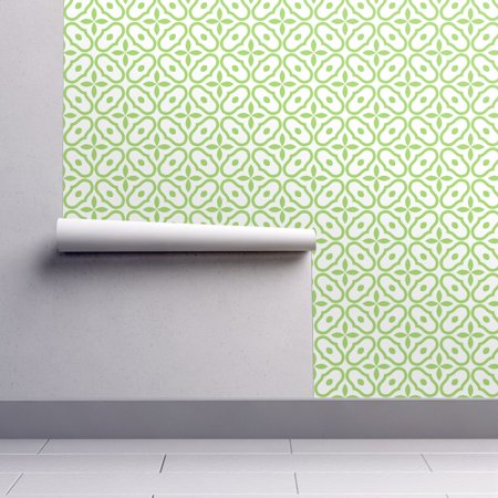 Removable Water-Activated Wallpaper Mosaic Tile Green White Nature Abstract Green Abstract Tile