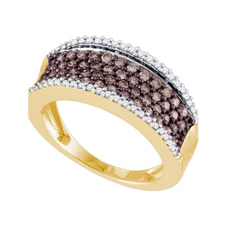 10kt Yellow Gold Womens Round Cognac-brown Color Enhanced Diamond Band Ring 3/4 Cttw - image 1 of 1