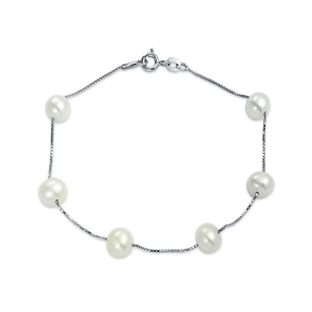 Bridal Station Tin Cup White Freshwater Cultured Pearl Round Link Bracelet For Women 925 Sterling (Elegant Bridal Bracelet)