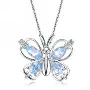 Collette Z  Sterling Silver Blue Cubic Zirconia Butterfly Necklace
