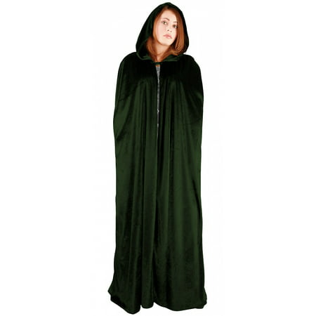 Full Length Velvet Hooded Cape/Cloak Adult Costume Green