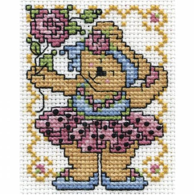 Ballerina Bear Counted Cross Stitch Kit - 2.5 x 3.5 in.
