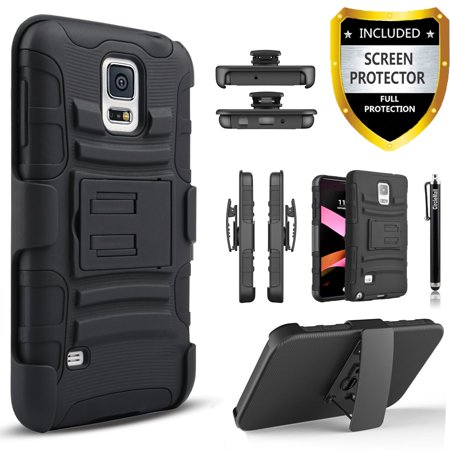Galaxy S5 Case, Dual Layers [Combo Holster] Case And Built-In Kickstand Bundled with [Premium Screen Protector] Hybird Shockproof And Circlemalls Stylus Pen (Black) ()
