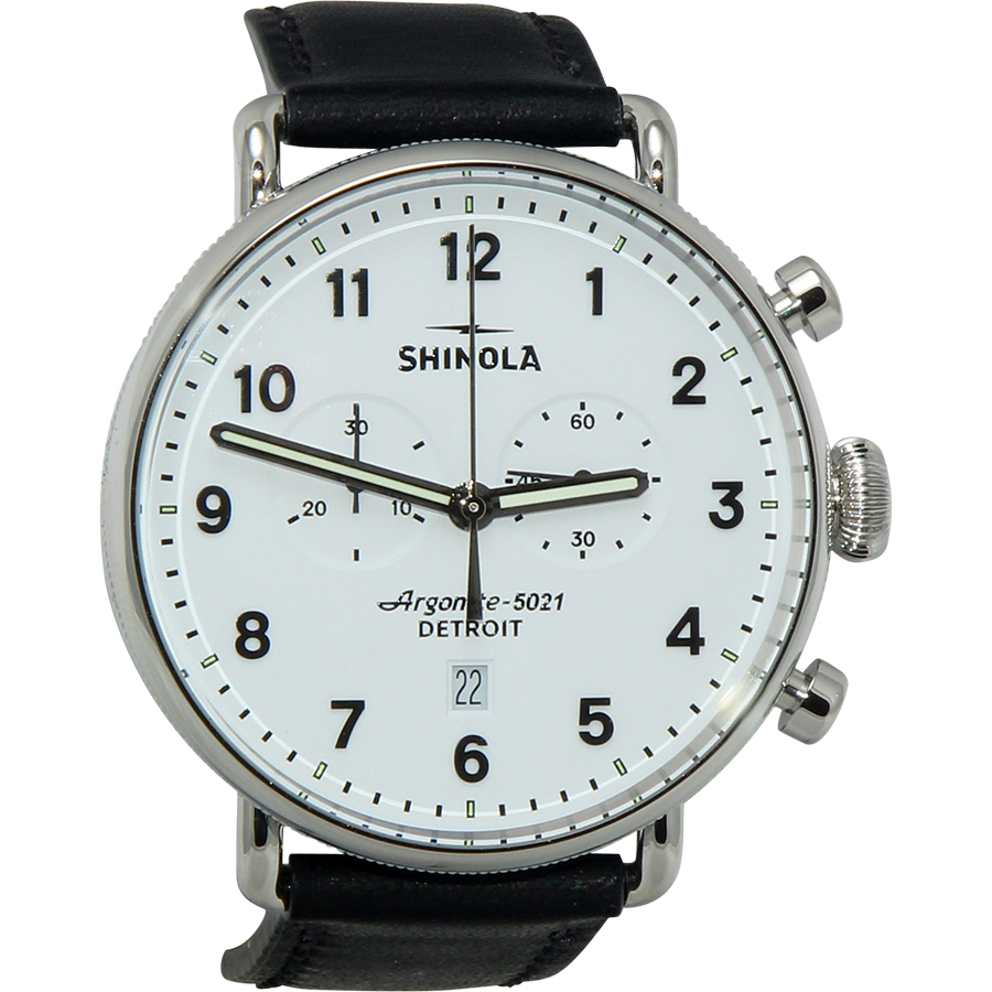 Men's Shinola The Canfield Chrono White Dial Black Leather Watch 20001941