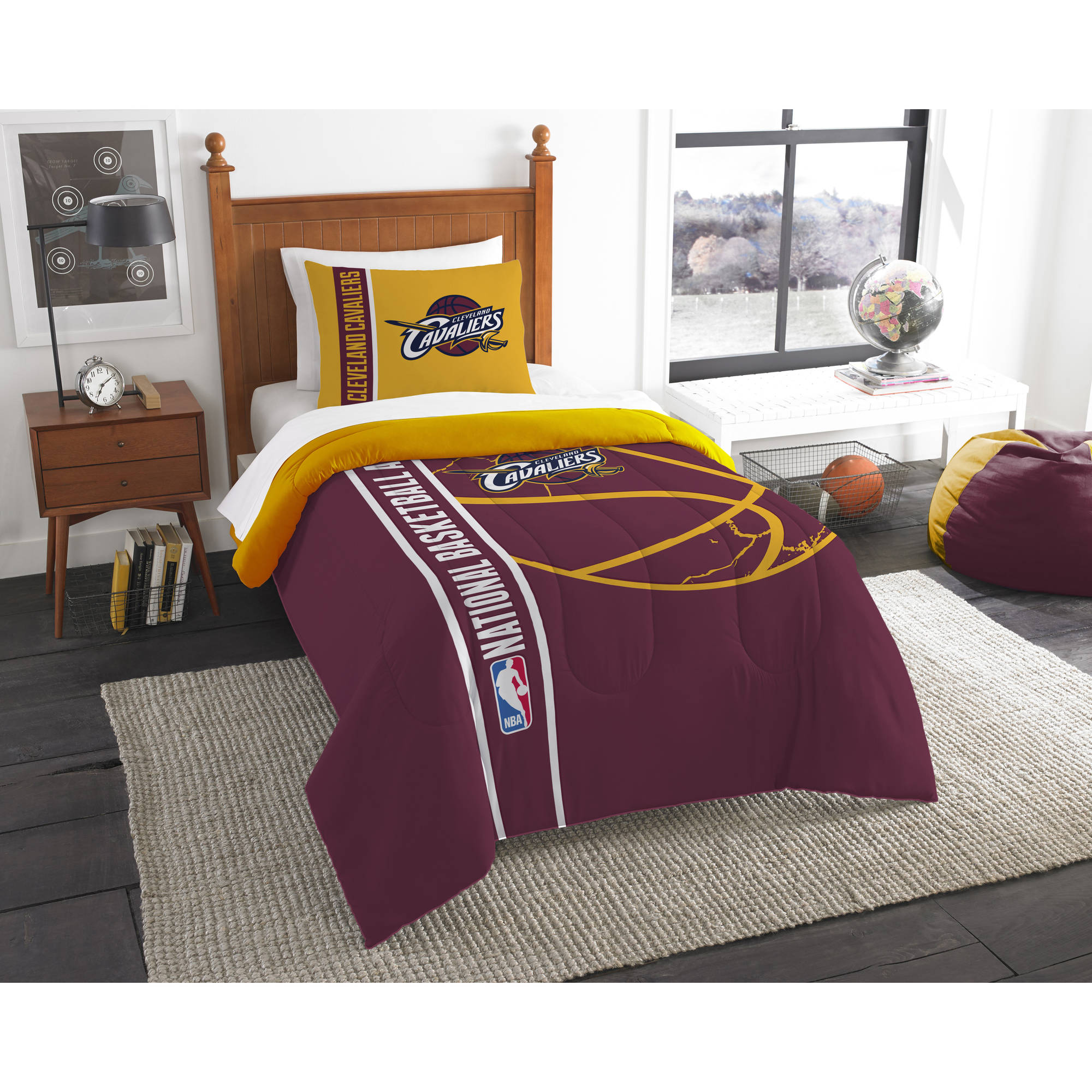 nba cleveland cavaliers printed twin comforter and sham set