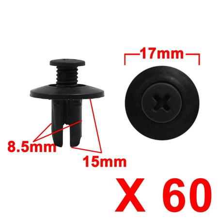 60pcs 8.5mm Hole Black Car Trim Panel Push Pin Clip Bumper Fender Plastic Rivets - image 1 de 2