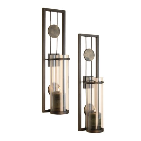Danya B. Set of Two Contemporary Metal Wall Sconces With Antique Patina Medallions Collection Double Wall Sconce