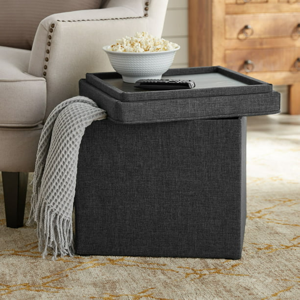 "Better Homes & Gardens Storage Ottoman with Tray, 16"", Grey"