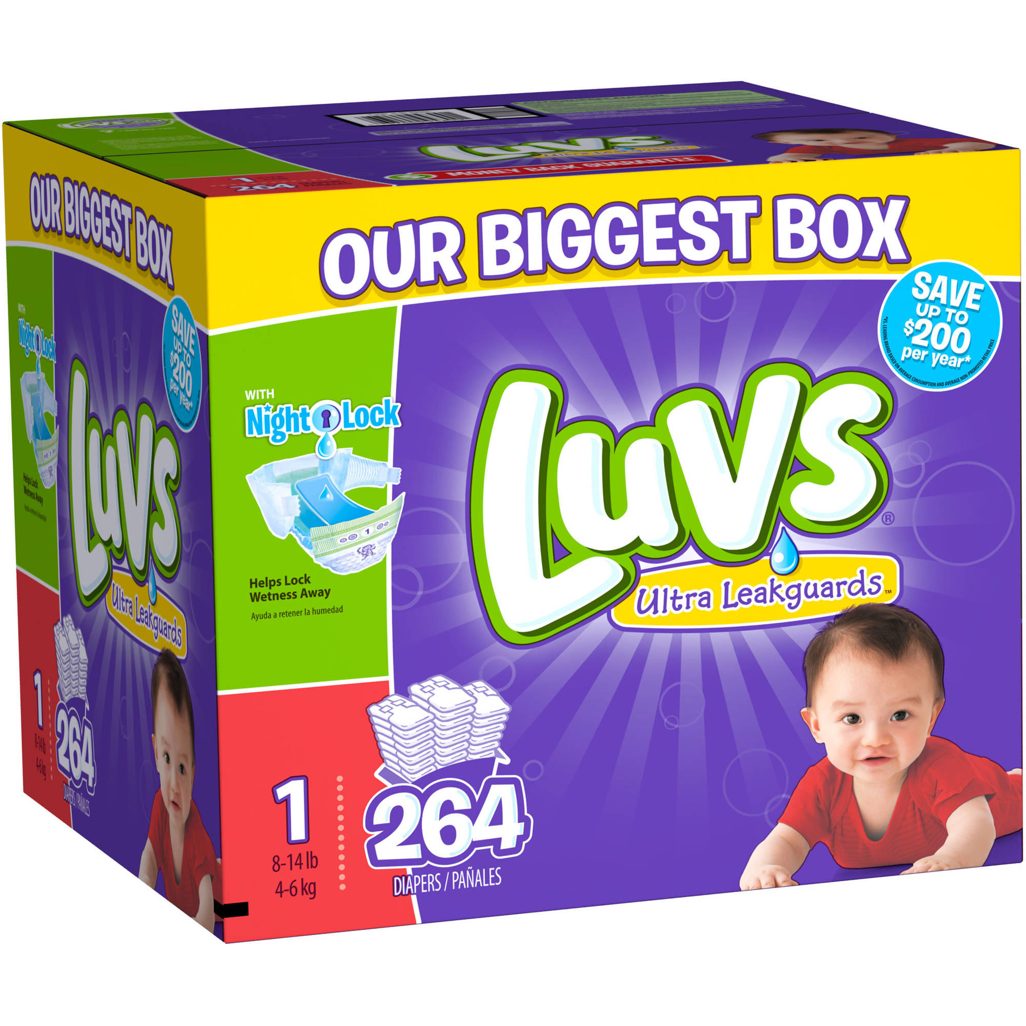Luvs Ultra Leakguards Diapers, Size 1, 264 Diapers