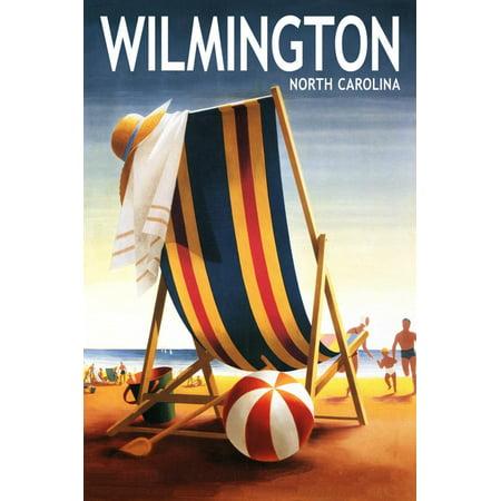 Wilmington, North Carolina - Beach Chair and Ball Print Wall Art By Lantern Press ()