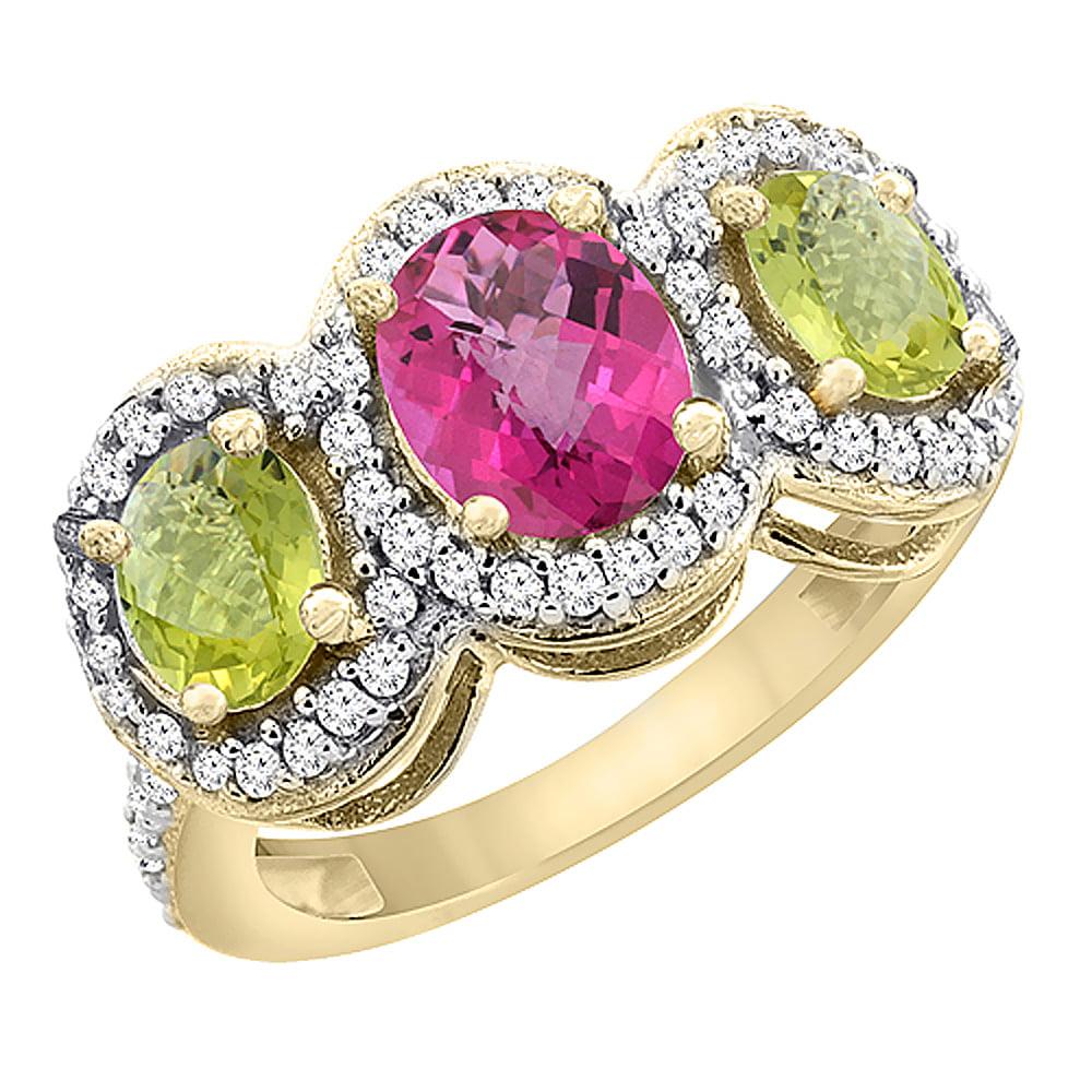 10K Yellow Gold Natural Pink Sapphire & Lemon Quartz 3-Stone Ring Oval Diamond Accent, size 6 by Gabriella Gold