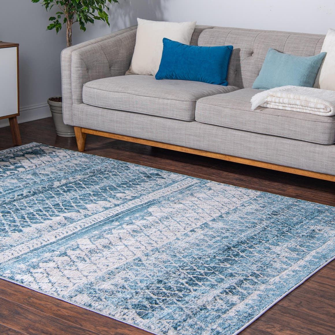 Rugs.Com Leipzig Collection Area Rug – 8X10 Blue Low-Pile ...