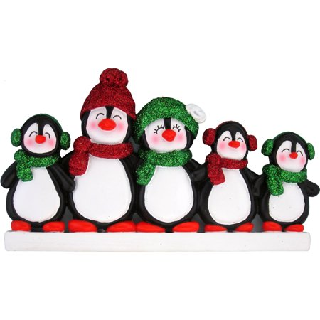 Penguin Family 5 People Personalized Christmas Ornament DO-IT-YOURSELF