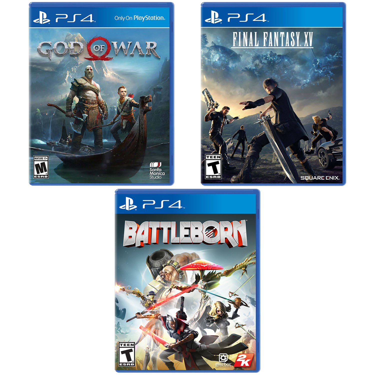 PS4 BUNDLE: God of War / Final Fantasy XV / Battleborn, PlayStation 4, Preowned/Refurbished