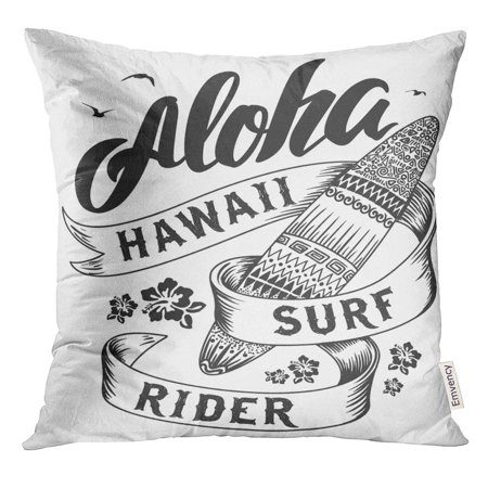 STOAG American Aloha with Surfboard Badge Beach Throw Pillowcase Cushion Case Cover 16x16 inch ()