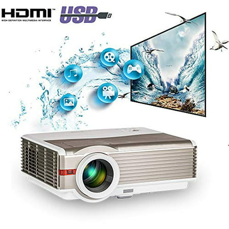 2019 HD LED LCD Home Theater Video Projectors 5000 Lumen HDMI USB Aux Audio VGA Multimedia 1080P Projector with 16:9/4:3