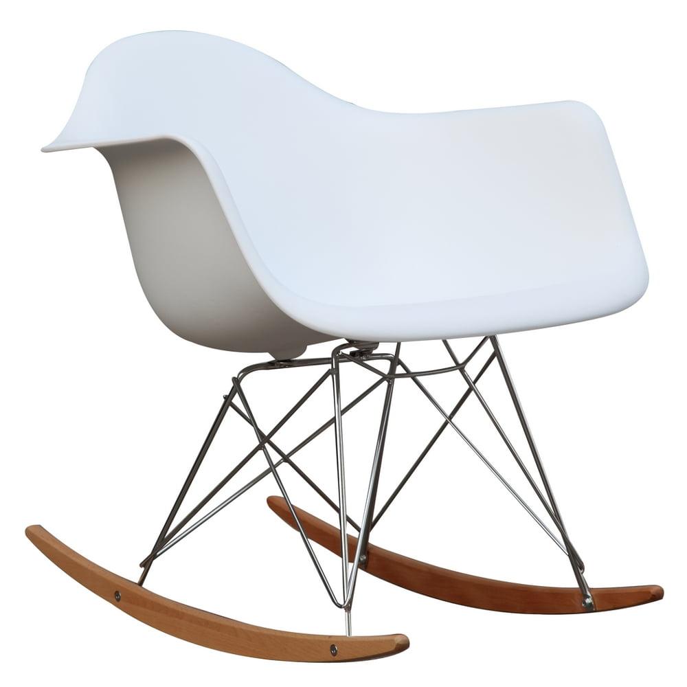 Fine Mod Imports Rocker Arm Chair White Walmart Com