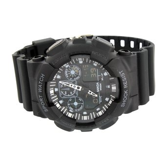 Black Sports Watch Men Shock Resistant Light Feature Day Date Digital Analog