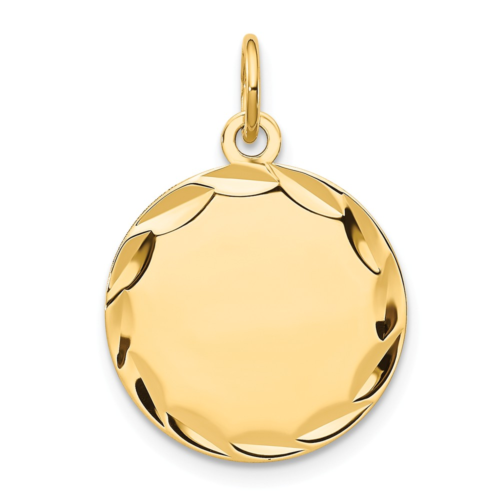 14k Yellow Gold Etched 0.018 Gauge Engravable Round Disc Charm (0.9in long x 0.6in wide)