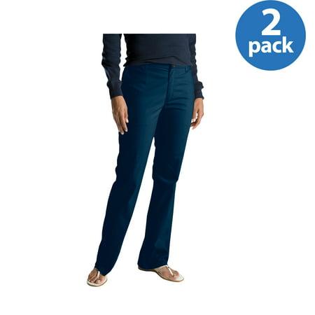 Genuine Dickies Womens Slim Bootcut Twill Pants, 2 Pack