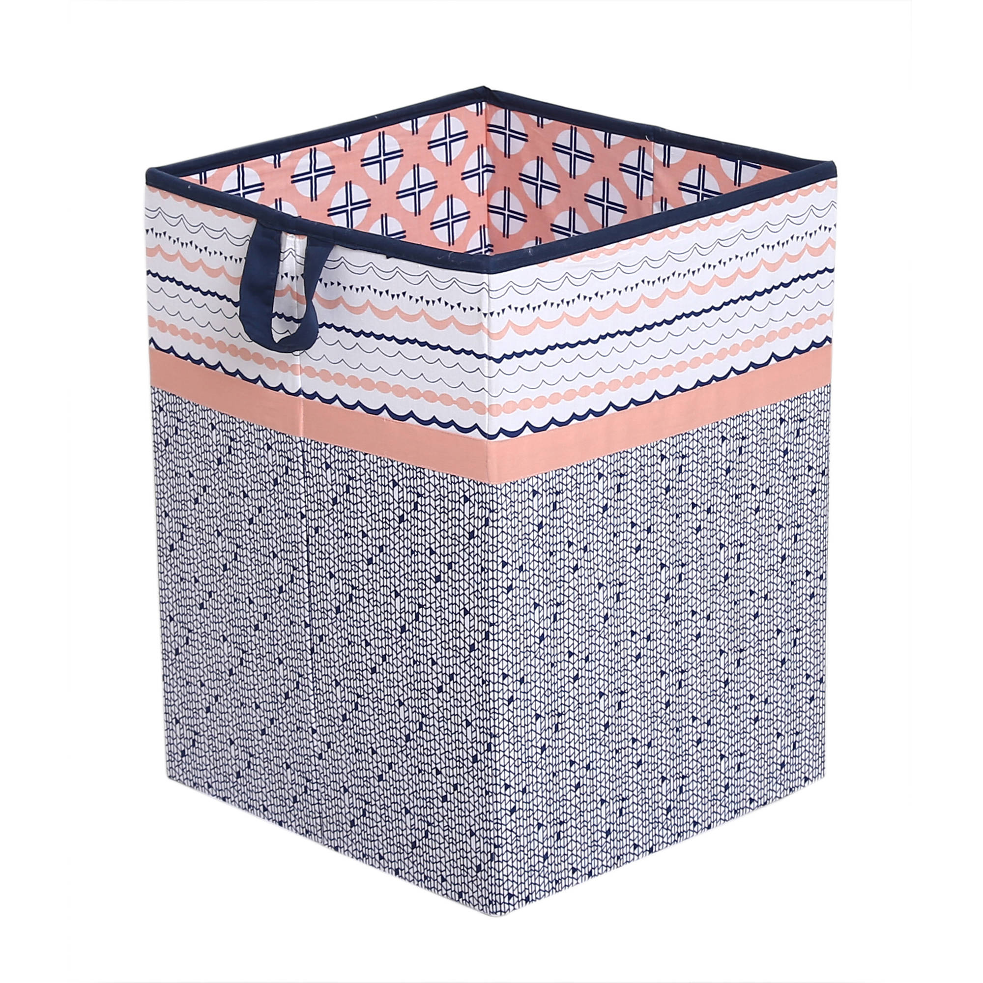 Bacati - Tribal Noah Mint/Navy Cotton Percale Fabric covered Storage,Collapsible Hamper, 18 H x 13 W x 13 L inches