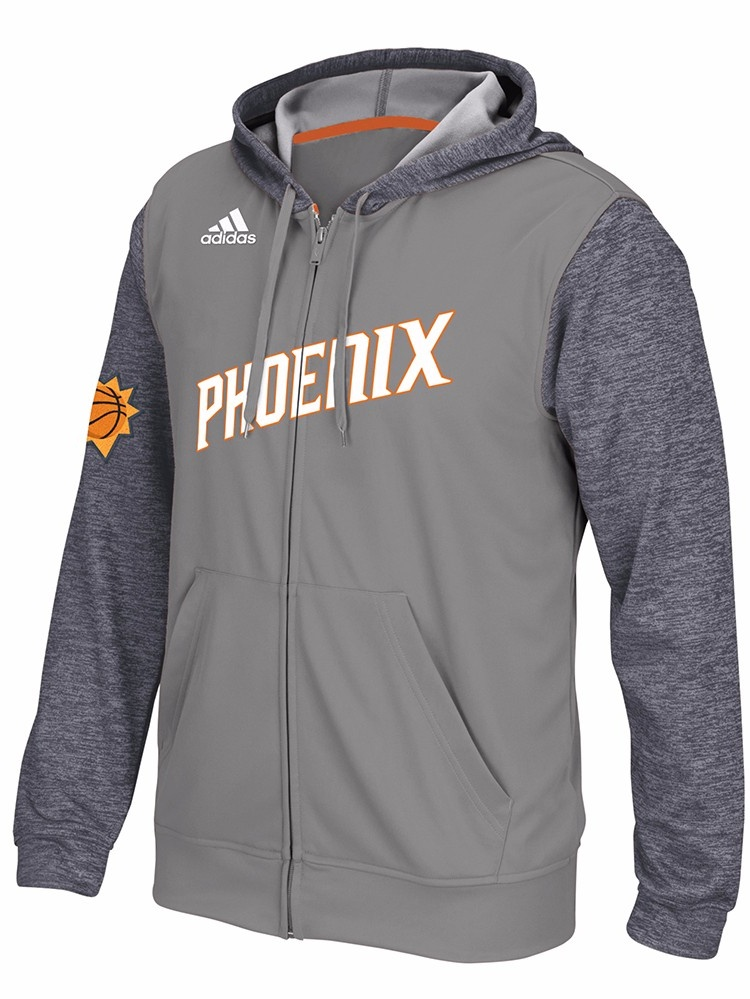 Phoenix Suns NBA Adidas Grey 2015 Pre-Game Full Zip Hooded Climalite Performance Jacket For Men by Adidas