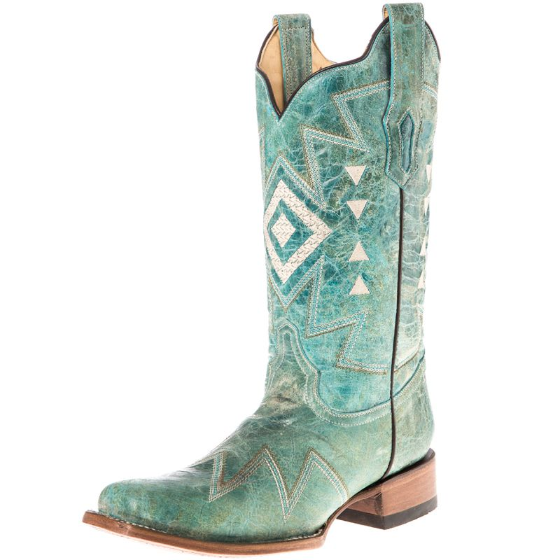 Unique Womenu0026#39;s Corral Turquoise Beige Side Embroidery Cowgirl Boots A3058 - JC Westernu00ae WearJC Western ...