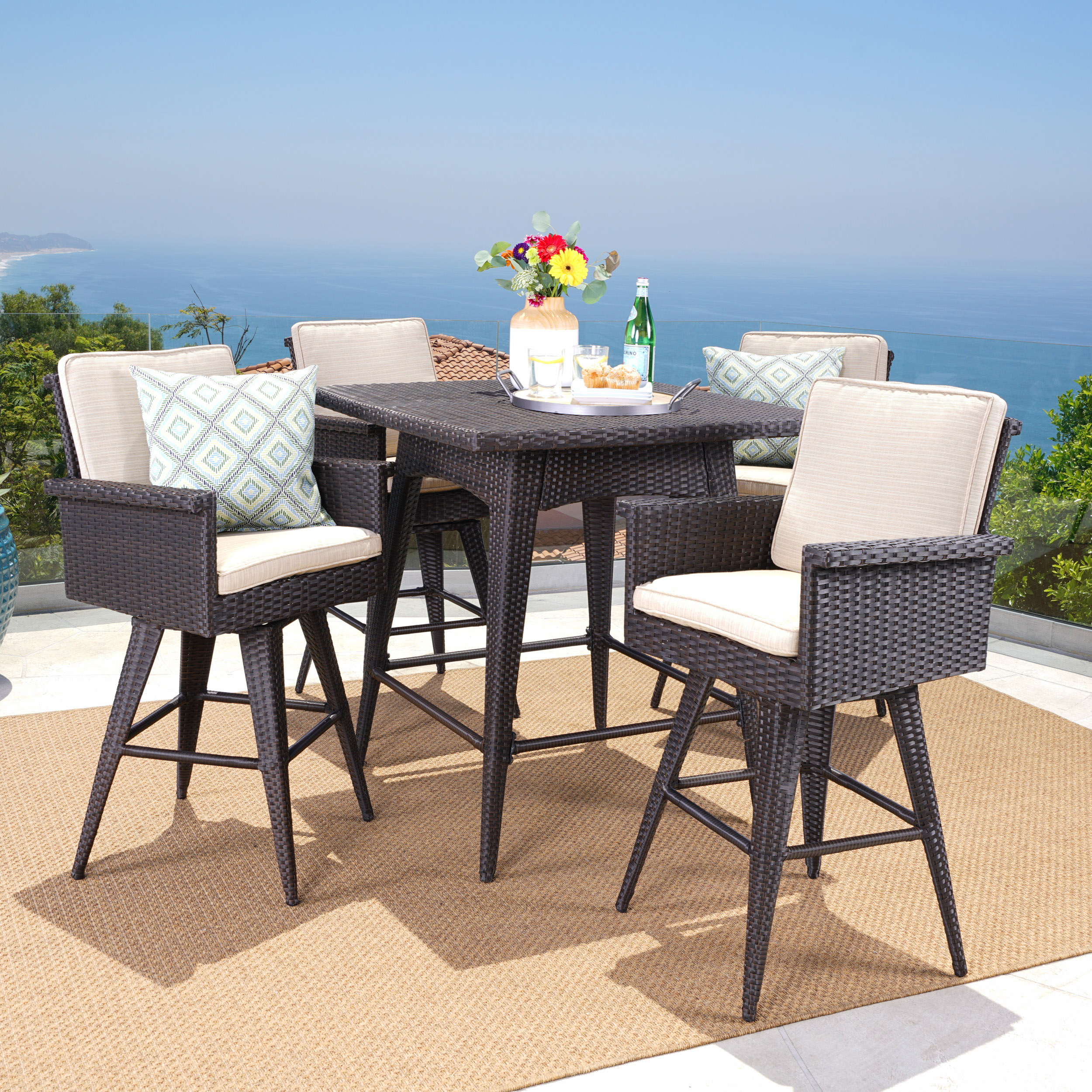 Marianne Outdoor 5 Piece Wicker Bar Height Dining Set with Sunbrella Cushions, Dark Brown, Sand