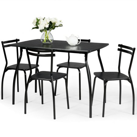 Costway 5 Pcs Dining Set Table And 4 Chairs Home Kitchen Room Breakfast Furniture Black