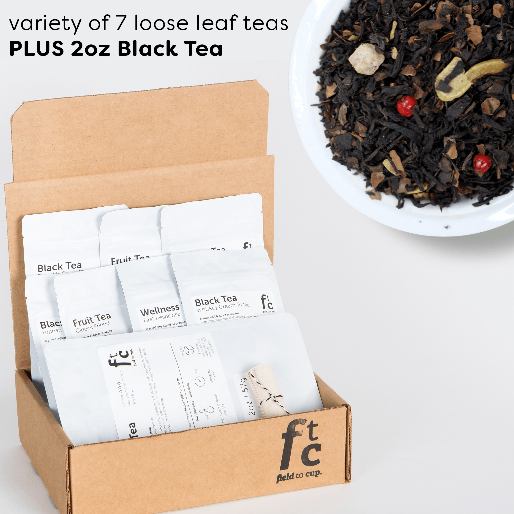 Field to Cup Tea Discovery Box Plus - 8 high quality loose leaf teas - 60+ cups (3.5oz) - Black Tea