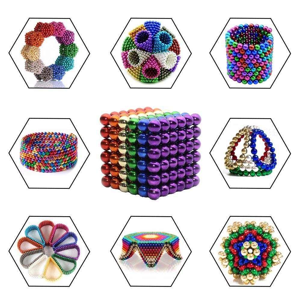 MagneBalls - 216 pcs 5MM Magnetic Ball Set for Office Stress Relief |Desk Sculpture Toy Perfect for Crafts,Jewelry and Education|Magnetized Fidget Cube Provides Relief for Anxiety,ADHD,Autism, Boredom