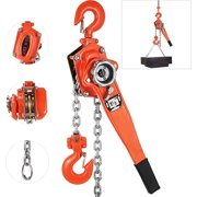 "VEVOR Manual Lever Chain Hoist 1.5Ton/10ft, Ratchet Chain Hoist 3300lbs, Come Along Puller 5/16"" Diameter, for Warehouse Garages Construction Zones"