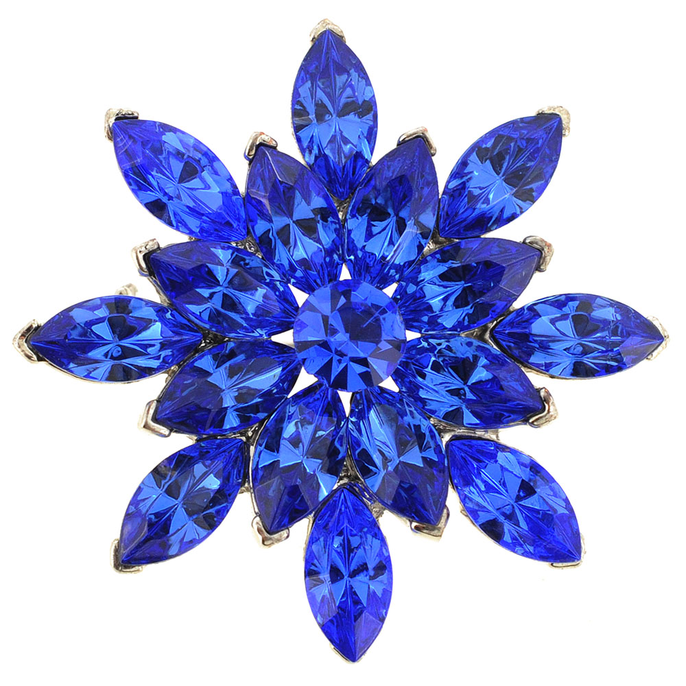 Sapphire Blue Flower Bridal Wedding Crystal Pin Brooch by