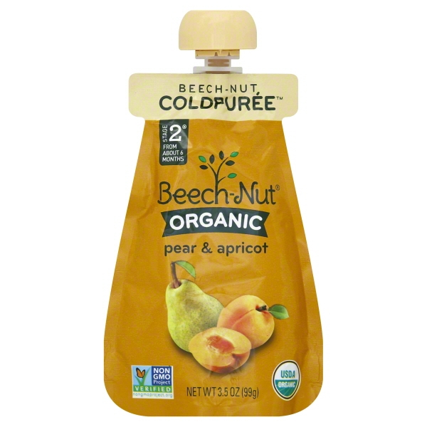 Beech-Nut Organic Stage 2 Pear & Apricot, 3.5 oz Pouch