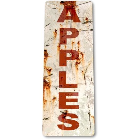 (TIN SIGN B842 Rusty Apples Kitchen Cottage Beach Farm Rustic Metal Apple Decor, By Tinworld)