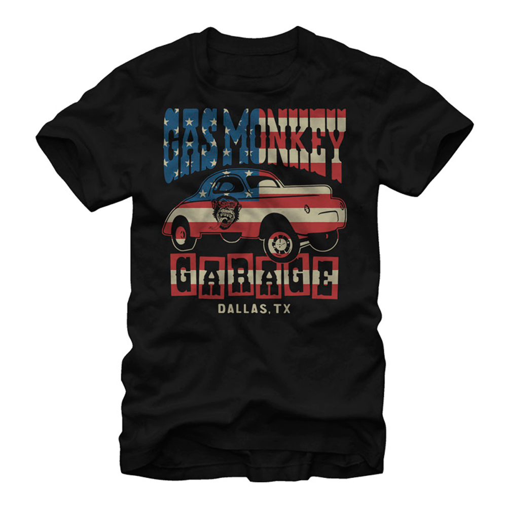 Gas Monkey American Flag Garage Mens Graphic T Shirt