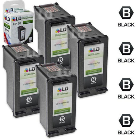 LD Remanufactured Replacement for HP 96 / C8767WN High Yield Black Ink Cartridge 4-Pack for DesignJet 5940, DeskJet 5748, 5940, 6620xi, OfficeJet 7210, 7410, K7108, PhotoSmart 2605, 2610, 8053, 8400 ()