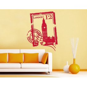 London Stamp With Big Ben Wall Decal