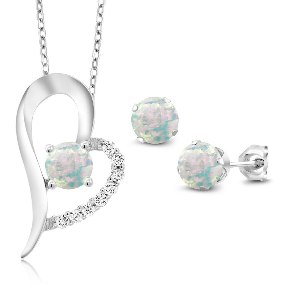 2.27 Ct Round Cabochon White Simulated Opal 925 Silver Pendant Earrings Set by