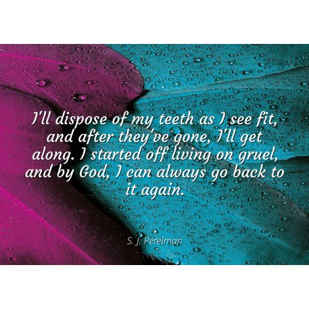 S. J. Perelman - I'll dispose of my teeth as I see fit, and after they've gone, I'll get along. I started off living on gruel, and by God, I can always go - Famous Quotes Laminated POSTER PRINT