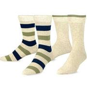 TeeHee  Combed Cotton Men's Crew Socks 2-pair Pack Wide Stripes & Plain