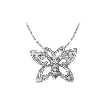 Stunning Cubic Zirconia Butterfly Pendant In Sterling Silver With 16 Inch Free Chain Cool Price