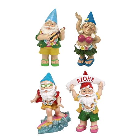 Ebros Free Spirited Hippie Hawaii Themed Vacation Fairy Garden Gnome Figurines Set of 4 DIY Mr and Mrs Gnomes Ukulele Surfer Aloha Hula Dancer Collection Statue Home Decor ()