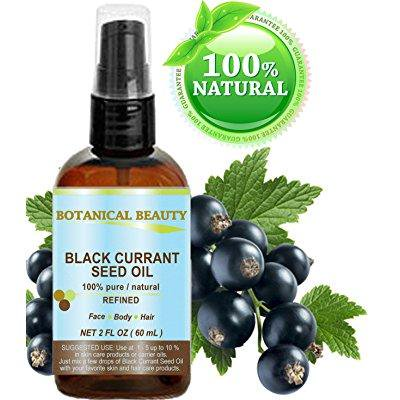 black currant seed oil. 100% pure / natural / undiluted / refined cold pressed carrier oil. 2 fl.oz. - 60ml. for skin, hair, lip and nail care. one of the richest in gamma-linolenic acid, omega 3, 6