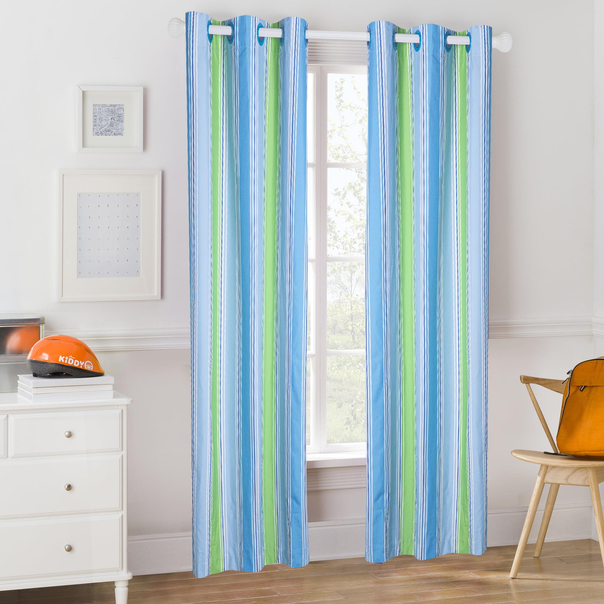 Mainstays Kids Blue and Green Stripes Room Darkening Coordinating Window Curtain