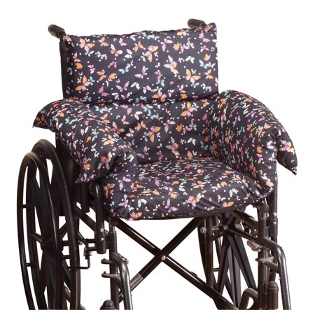 Pressure Reducing Chair Cushion – Comfort Cushion Seat Pad for Wheelchair, Arm Chair, Patio Chair – Machine Wash Polyester/Cotton – Butterfly Pattern