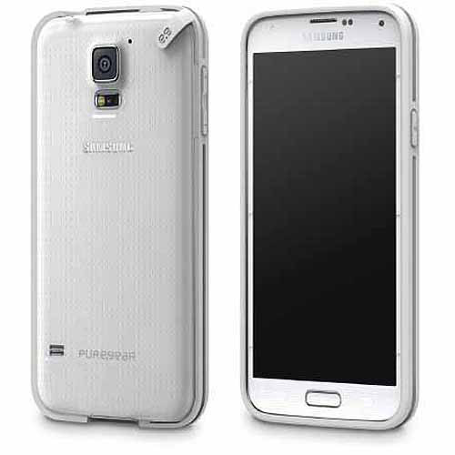 Slim Shell Case for Samsung Galaxy S5 - Clear/White